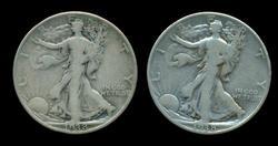 2 1938-D Walking Liberty Half Dollars. Key date