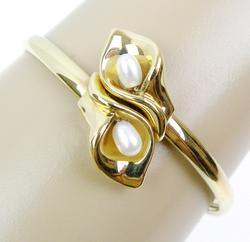 Beautiful Calla Lily & Pearls 10K Gold Bracelet