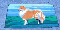Early Handmade Collie Dog Hook Rug