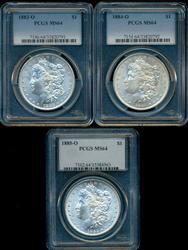 3 Near Gem BU 1883-O, 84-O, & 85-O Morgans. PCGS MS64