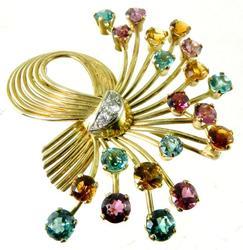 Vintage 14kt Gold Gemstone Colorful Broach