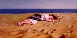 GIRL LYING ON THE BEACH BY ESPARZA