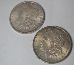 2 BU 1882 Morgan Silver Dollars