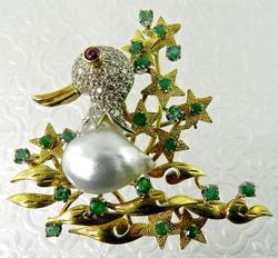 Very Unique Diamond, Pearl & Emerald Duck Brooch