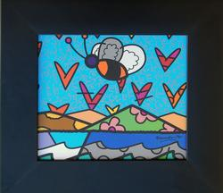 Framed Romero Britto Lithograph on Paper