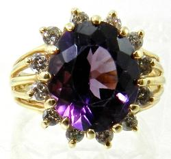 Deep Purple Amethyst and Diamond Ring