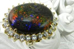 Extremely Rare Vintage  Black Opal and Diamond Ring