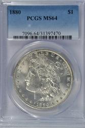 Near Gem BU 1880-P Morgan Silver Dollar. PCGS MS64