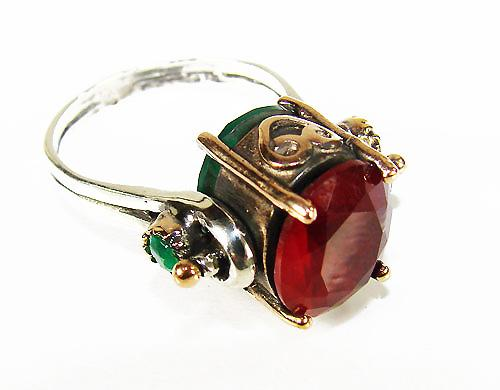 VERY CHARMING ANTIQUE DESIGN MULTI GEMSTONE 925 SS RING