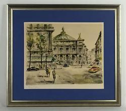 Rare 50s French Lithograph, Paris L'Opera, Signed