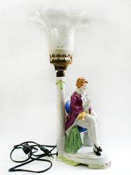 Charming 'Gallant' European Porcelain Lamp