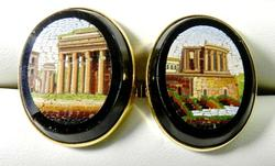 Very Unique Micro-Mosaic 14kt Gold Cufflinks