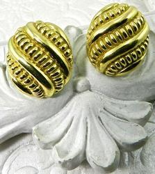 Button Style Earrings, 18K