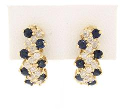 1.5 CTW DIAMOND & SAPPHIRE J HOOP EARRINGS
