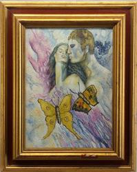 Vividly Colored Sensual Original Oil On Canvas