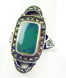 Deco Chrysoprase & Marcasites Sterling Ring