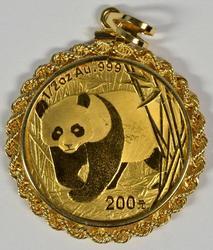 Stunning 2002 Half Oz. Gold Panda Pendant