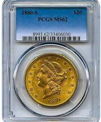 1880-S $20 Lib. Double Eagle, MS62 PCGS