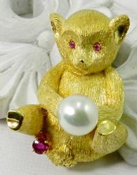 Collectible Pearl & Ruby Accent Monkey Brooch