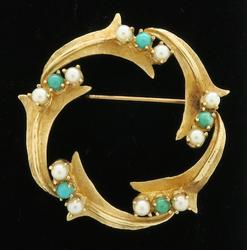 Fancy 14k Gold Pearl & Turquoise Pin