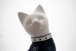 Cute Cat Figurine With Navy Floral Dress