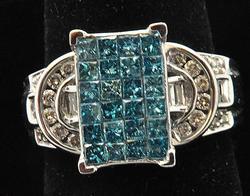 Fancy Blue & White Diamond Ring, 14kt Gold