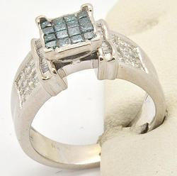 LADIES 14KT WHITE GOLD AND BLUE DIAMOND RING