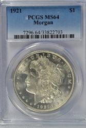 Nearly Gem BU 1921-P Morgan Silver Dollar. PCGS MS64