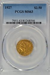 Stunning Choice BU 1927 $2.50 Indian Gold. PCGS MS63