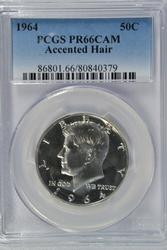 CAMEO Proof 1964 'Accented Hair' Kennedy. PCGS PR66CAM