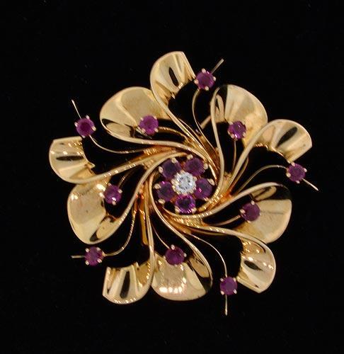 Tiffany & Co Vintage Ruby & Diamond Brooch