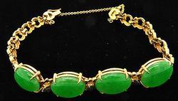 18kt Gold Jade Bracelet, 21.2 grams.