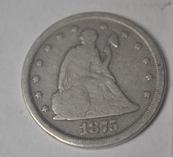 1875  S Raw  20 Cent Piece