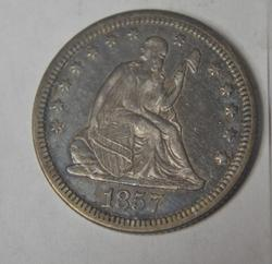 1857 Seated  Liberty Quarter. Strong Near Uncirculated