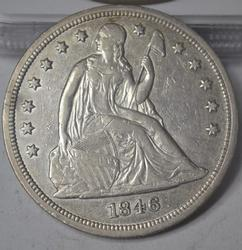 1846 Seated Dollar 110k Mintage