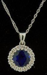 Sapphire & Diamond Pendant Necklace at 1.95 CTW