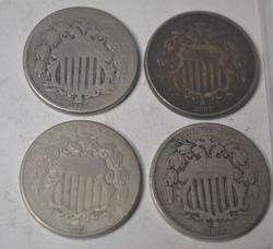 1866 1867 1868 and  1873 Shield Nickel lot