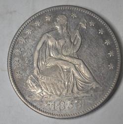 1853-O Arrows and Rays Seated Half Dollar Very  Near Unc