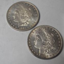 1881 O and 1890 Unc Morgan Dollars
