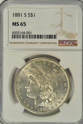 Superb Gem BU 1881-S Morgan Silver Dollar. NGC MS65