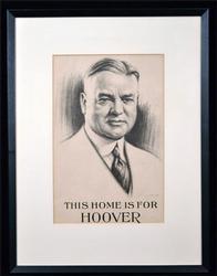 1920's Herbert Hoover Print of Portrait Drawing