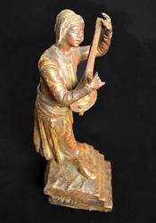 Rare Cast Bronze Sculpture of Man Playing Music
