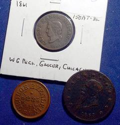 3  Civil War Tokens  NYC and Chicago