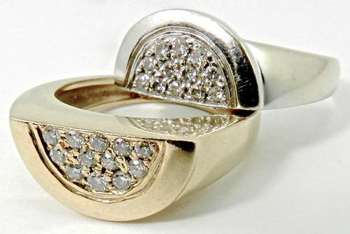 Pair of 18kt White Yellow Gold Movado Diamond Rings