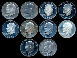 10 Proof 1971-S 40% Eisenhower Silver Dollars