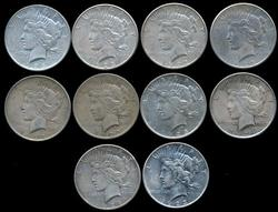 Nice Assortment of 10 Peace Silver Dollars from 1920's