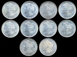 Nice Half Roll of 10 AU/BU1921 Morgan Silver Dollars