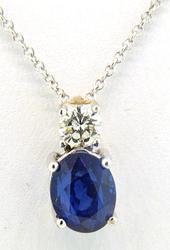 Diamond & Sapphire Pendant, 14kt Gold