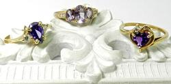 Group of 3 Gold and Amethyst Rings
