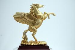 Luxurious Rearing Golden Pegasus Figurine